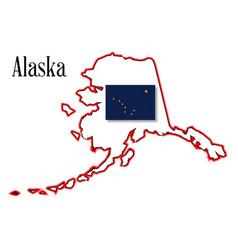 Alaska state map and flag vector