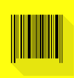 Bar code sign black icon with flat style shadow vector