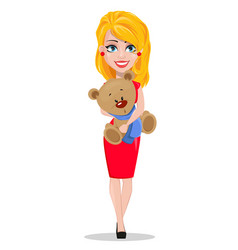 beautiful woman in red dress holding teddy bear vector image vector image