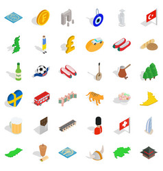 Big world icons set isometric style vector