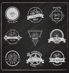 Bike chalkboard emblems set vector
