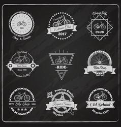 bike chalkboard emblems set vector image