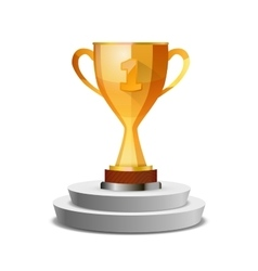 Bright glossy winner cup on white pedestal vector image