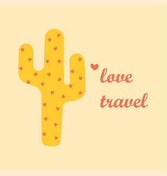 Card with cute cactus vector