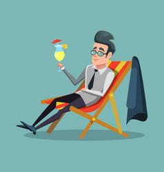 Cartoon businessman relaxing with cocktail vector