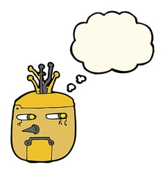 Cartoon robot head with thought bubble vector