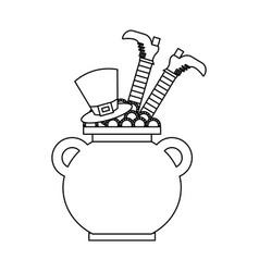 Cauldron treasure with hat and leg of leprechaun vector