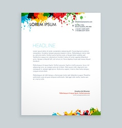 Colorful ink splash letterhead vector