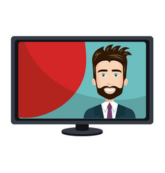 Computer desktop with businessman isolated icon vector