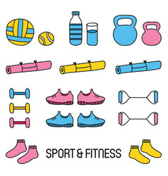 Cute colorful sport and fitness doodle set vector
