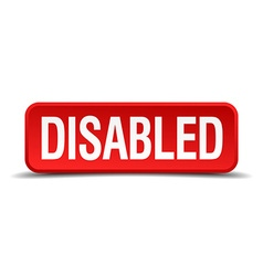 Disabled red 3d square button isolated on white vector image