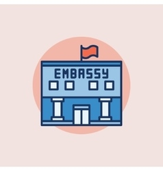 Embassy flat icon vector image vector image