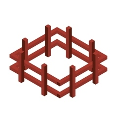 Fence wooden isometric icon vector