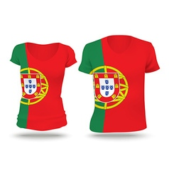 Flag shirt design of Portugal vector image vector image