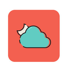 Flat color cloudy icon vector