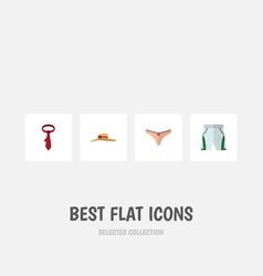 Flat icon garment set of lingerie cravat trunks vector