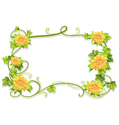 frame template with yellow flowers vector image