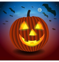 Halloween background with scary pumpking vector image vector image