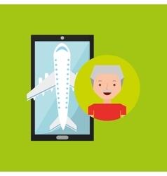 Hand holds mobile older man application travel vector