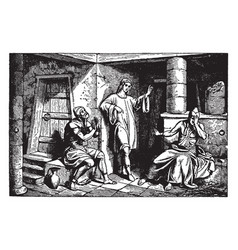 Joseph in prison with the cup-bearer and the vector