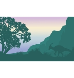 Landscape parasaurolophus in fields silhouette vector image vector image