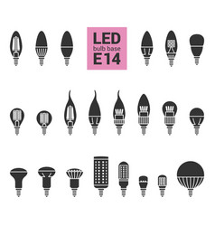 Led light e14 bulbs silhouette icon set vector