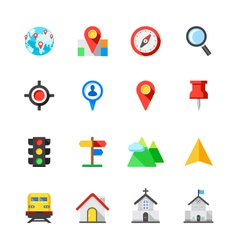 Map and Location Icons vector image vector image