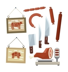 Meat and butchers flat design icons set vector