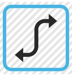 Opposite bend arrow icon in a frame vector