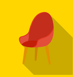 Red oval chair icon in flat style isolated on vector