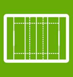 Rugby field icon green vector