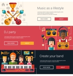 Set of music flat modern banners vector image