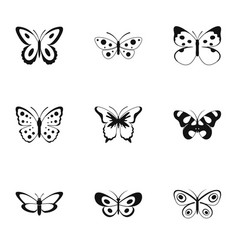 Silkmoth icons set simple style vector