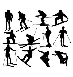 skier standing on the snow silhouetees vector image vector image