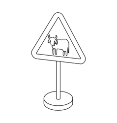 Warning road sign icon in outline style isolated vector