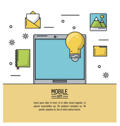 white background poster of mobile app with tablet vector image vector image