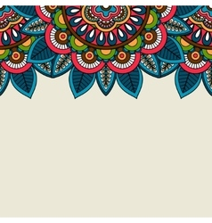 Indian doodle floral colored border vector