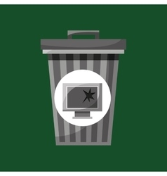 Garbage bin technology broken vector