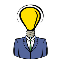 Businessman with lamp-head icon icon cartoon vector