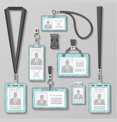 identification card or badge with lanyard set vector image