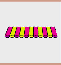 Striped awning icon vector