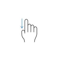 Swipe down finger line icon hand gestures vector