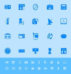 House related color icons on blue background vector