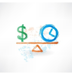 Money time balance grunge icon vector
