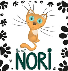 Funny cartoon cat nori vector