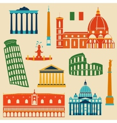 Landmarks of italy set vector