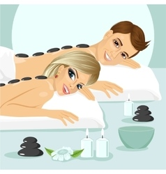 Attractive young couple on a spa vector