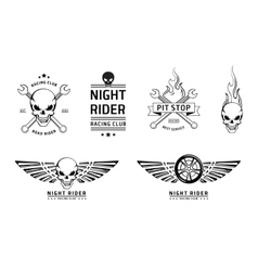 Racing skull emblems set vector