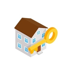 House and key icon isometric 3d style vector