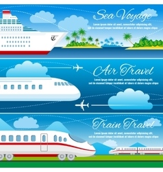Summer travel horizontal banners set vector
